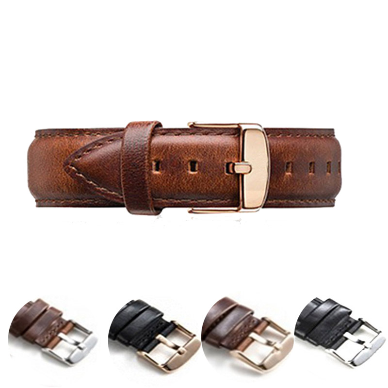 2019 High Quality Strap Leather Strap 18mm 20mm Watch Accessories Ladies Men's Brown Black Rosegoldwatch Strap