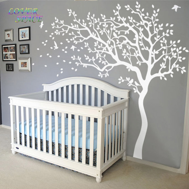 Love E Hot Huge Tree Wall Sticker White Decals Nursery Stickers For