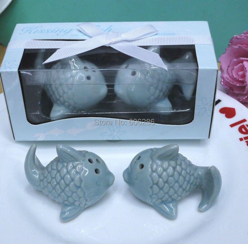 100 пар/лот Factory Outlet Стиль Свадебные принадлежности Керамические поцелуи рыба солонки и перечницы пляж тема свадебные подарки
