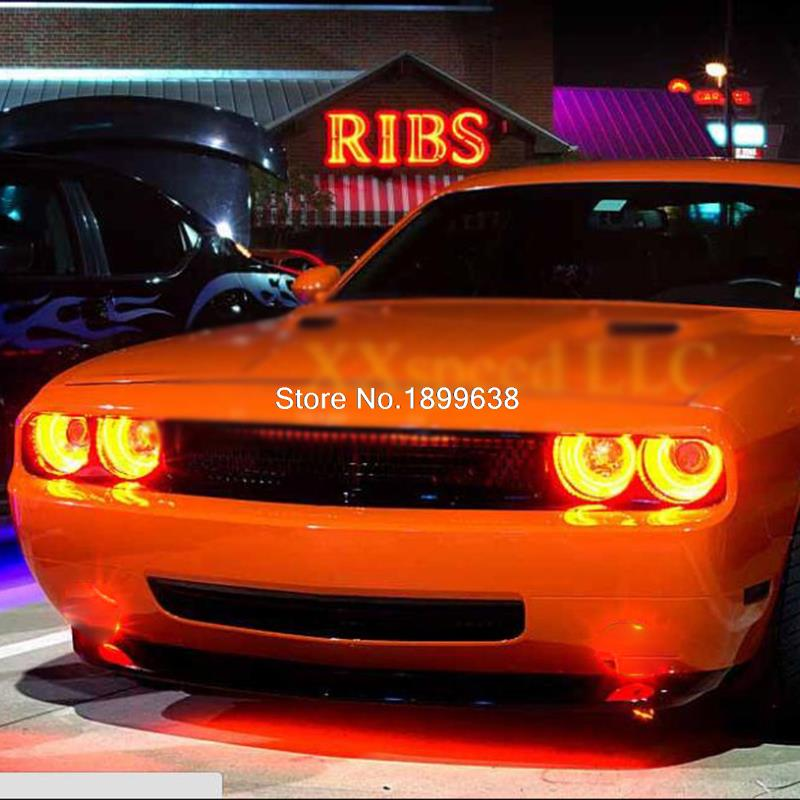 For Dodge Challenger 2008 2014 Red Led Headlight Halo