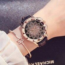 купить Luxury Brand Women Rose Gold Watches Fashion Casual Girls Rhinestone Dress Watch Leather Quartz Watches Relogio Feminino Clock по цене 324.35 рублей