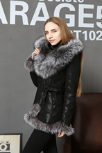 Real Genuine leather sheepskin Fur Women coat silver fox collar Lace belt Fashion New Direct supply from factory customization