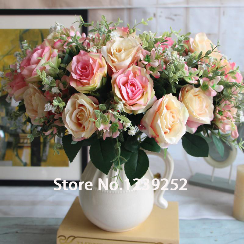 NEW 12 heads Classical European rose silk flowers artificial rose bouquet fake rose flower roses flor color de rose artificial fake rose flowers