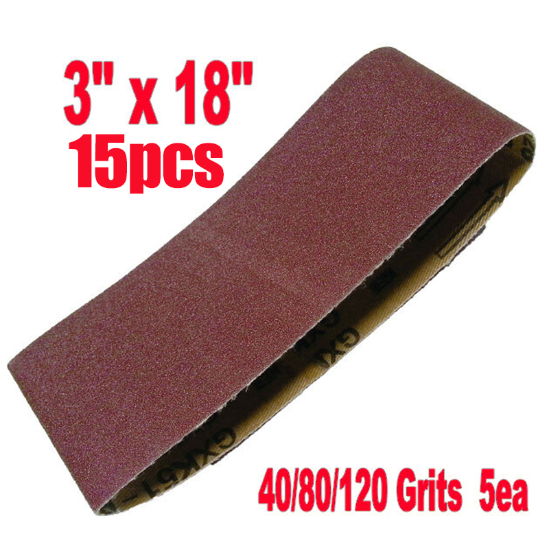 457*75mm Sanding Belts Aluminium Oxide Mixed 40-120 Grit Sander Abrasive 15 Pcs