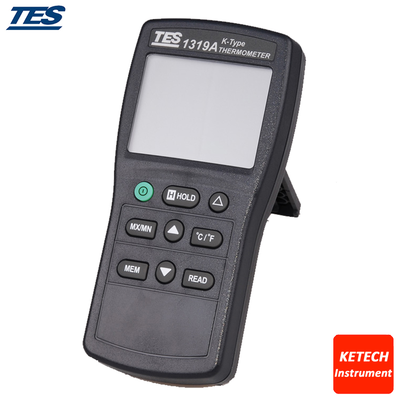TES1319 Data Hold Function K Thermocouple Input Industrial Digital Thermocouple Thermometer digital dual input k type thermocouple thermometer industrial thermometer temperature reader sensor 50 to 1300 tes 1303