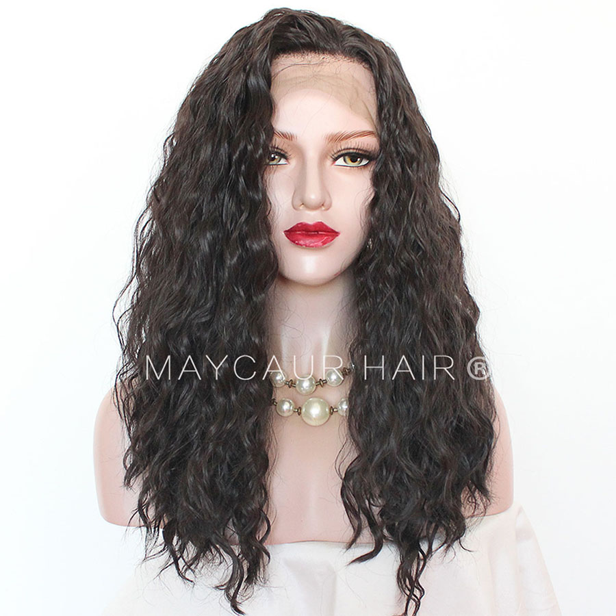 Maycaur 180 Density Curly Synthetic Lace Front Wigs #5 Light Brown Color Glueless Lace Wigs for Black Women