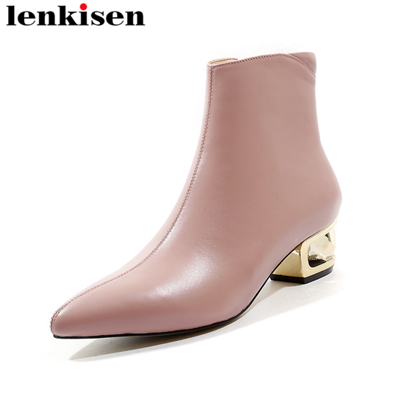 Lenkisen pointed toe med fretwork heels zip scrub genuine leather pink black color chelsea boots runway women ankle boots L19Lenkisen pointed toe med fretwork heels zip scrub genuine leather pink black color chelsea boots runway women ankle boots L19
