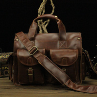 Top Grade Handmade Mens Real Cowhide Leather Briefcase Vintage Style Messenger Shoulder 15 Inches Laptop Bag