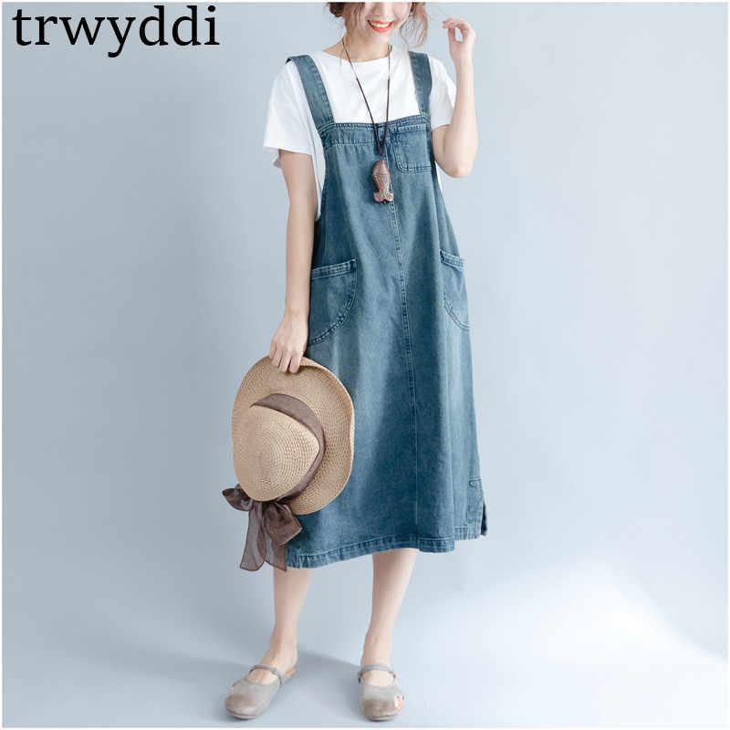 2019 джинсовое платье для женщин, хит продаж, лето-весна, повседневные платья на бретельках, большие размеры, одежда в ковбойском стиле, однотонные платья hl136