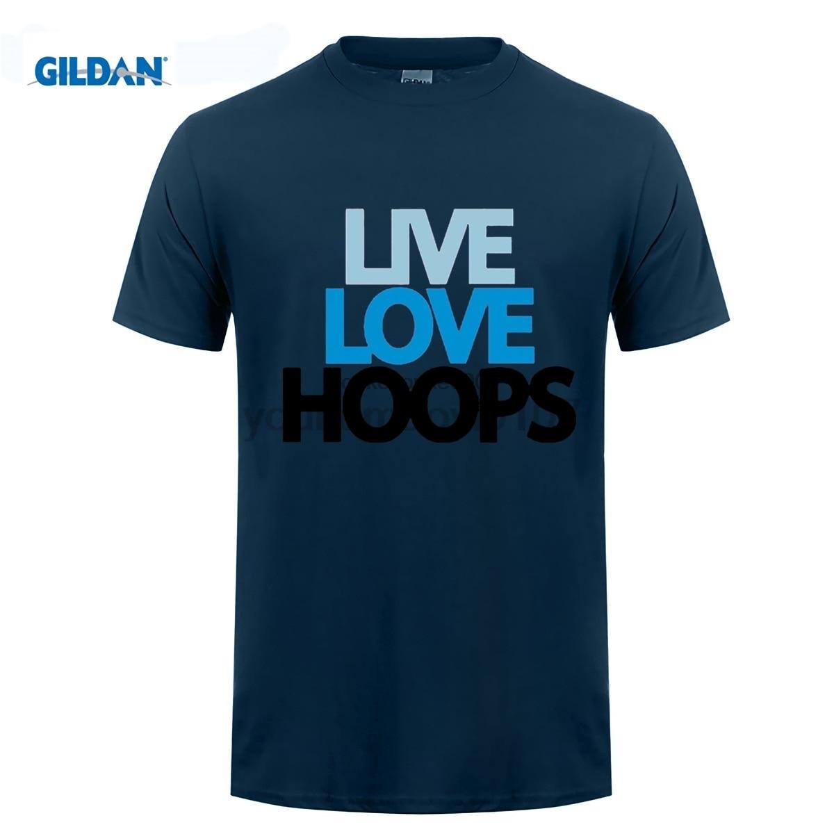 GILDAN funny men t shirt Live Love Hoops Guy T shirt For Sale Large Size Basketballer Team Men Print T Shirt