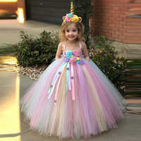 Коллекция 2019 года, платье с единорогом для девочек платье-пачка с цветочным рисунком детское бальное платье из тюля на бретелях и повязка на...