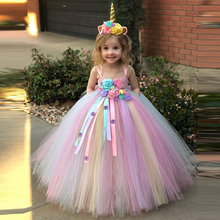 2019 Girls Unicorn Dress Flower Tutu Dress Kids Crochet Tulle Strap Ball Gown Dress + Headwear 2pcs Children Party Costume Dress new girls yellow princess tutu dress kids crochet flower tail dress ball gown with headband children wedding cosplay party dress