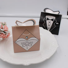 50/100PCS New Fashion Paper Wedding Party Candy Favor Box Dress Bride Groom Shape Gift packing Box(China)