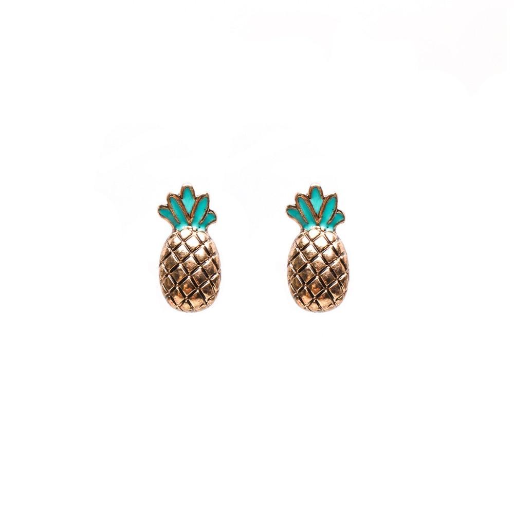 Pineapple Stud Earrings For Women Brincos Boucle D'oreille Orecchini  Pendientes Hombre Studs Earings Fashion