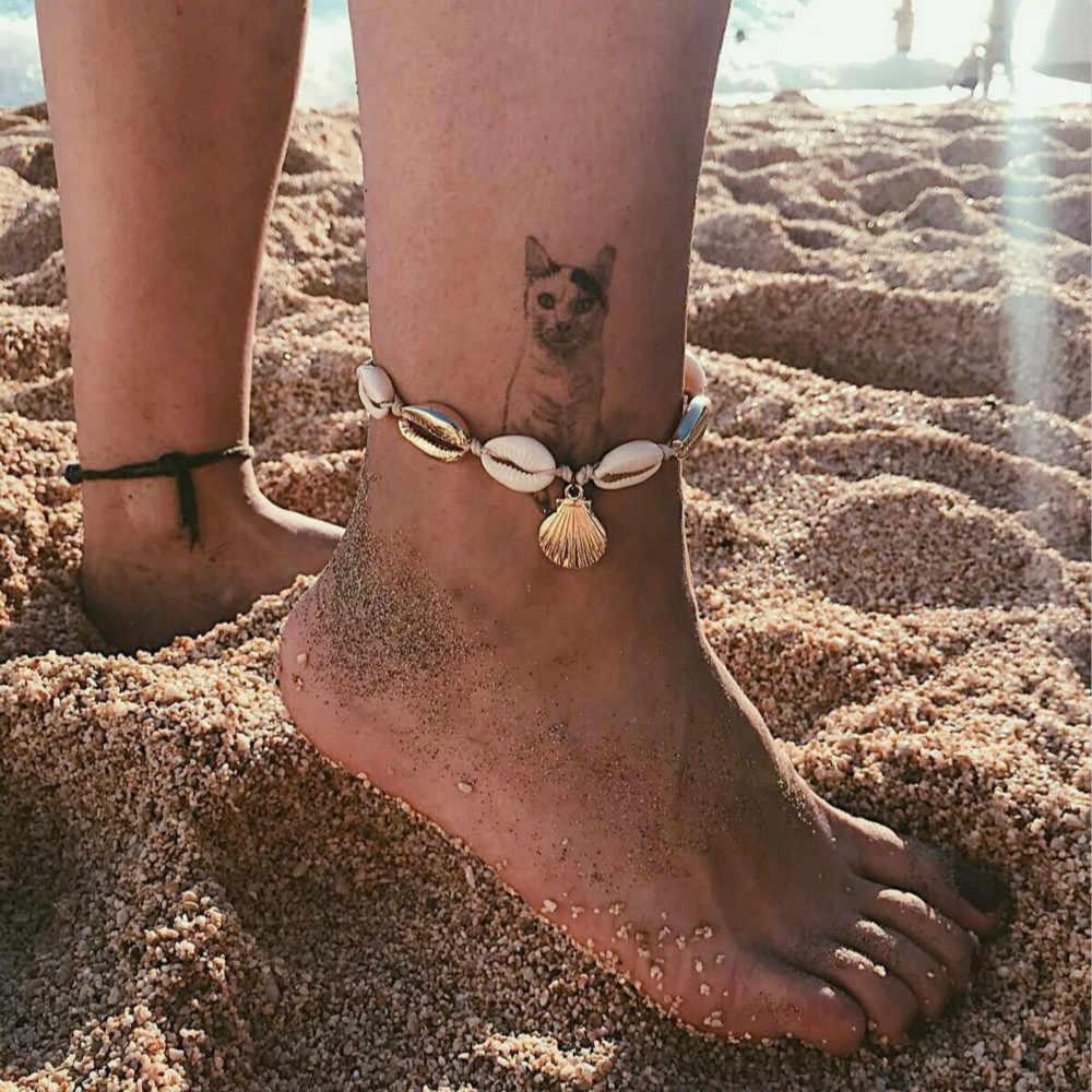 Antique GOLD สี Anklet ผู้หญิงเลื่อมลูกปัดเรขาคณิตสร้อยข้อมือ Charm โบฮีเมียนข้อเท้าสร้อยข้อมือเท้า Boho เครื่องประดับ