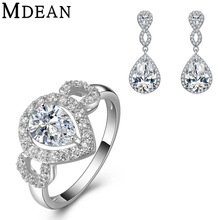 MDEAN white gold plated Jewelry Sets for women vintage CZ diamond jewelry wedding ring+earrings+pendant Fashion Accessories