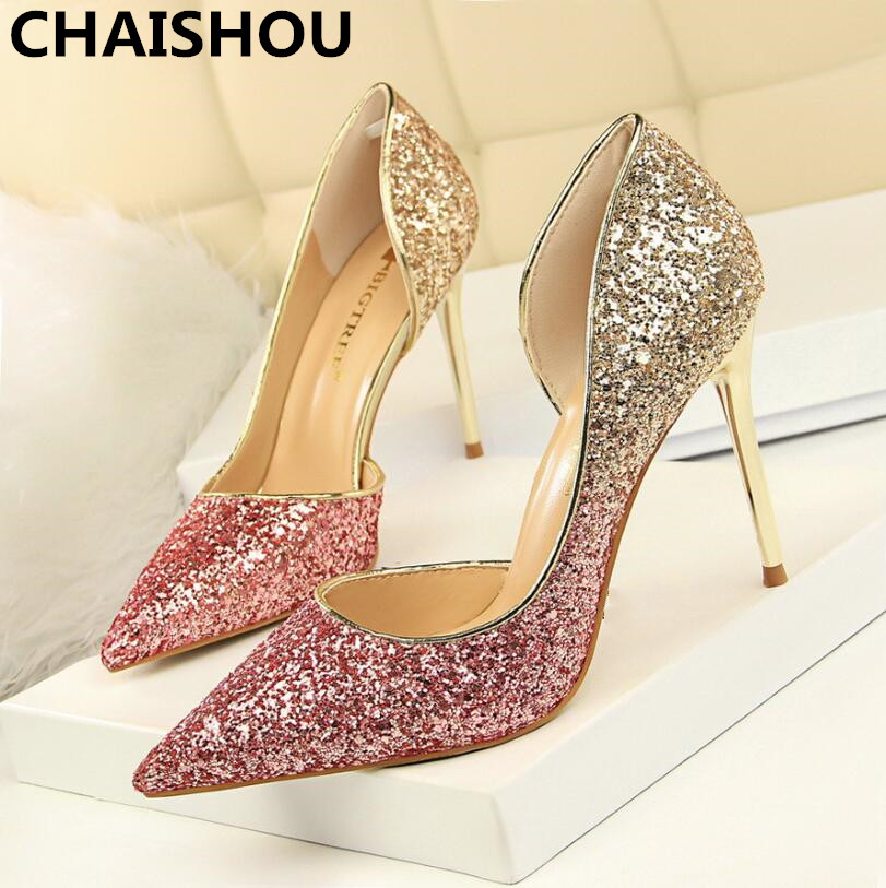 CHAISHOU 2018 New Woman 9cm Glitter High Heels Sequins Scarpins Pumps Gold Escarpins Lady banquet Wedding Shoes F-174