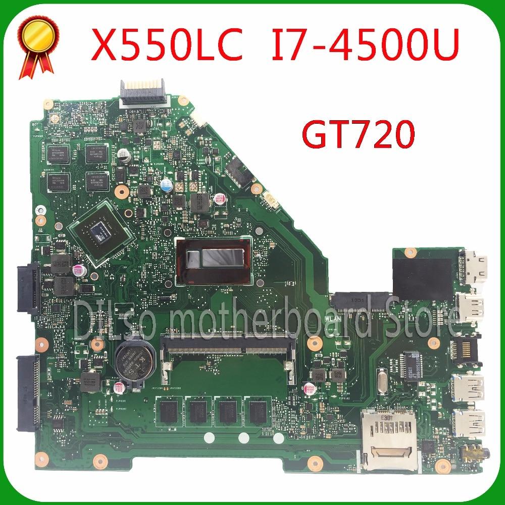 KEFU X550LC carte mère Pour ASUS X550LD A550L Y581L W518L X550LN mère d'ordinateur portable I7-4500U GT720M Test carte mère