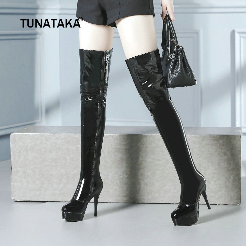 Woman Patent Leather Platform Thin High Heel Over The Knee Boots Sexy Round Toe Side Zipper Dress Winter Thigh Boots Black Red стоимость