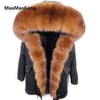 MaoMaoKong new natural Fur Parka Long Women winter jacket Coat Raccoon Fur collar fux fur Lined hooded Jacket parkas
