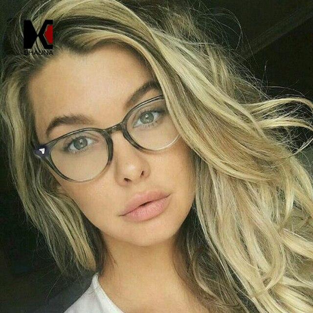 1e3dc306be SHAUNA Classic Women Round Eyeglasses Frame Brand Designer Fashion Men Nail  Decoration Optical Glasses Reading Glasses