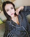 Striped Details Shirt + Pants Suit Women 2016 Pajamas Iindoor Clothing Tracksuit Women Loungewear Pajamas Sleepwear Nightgown