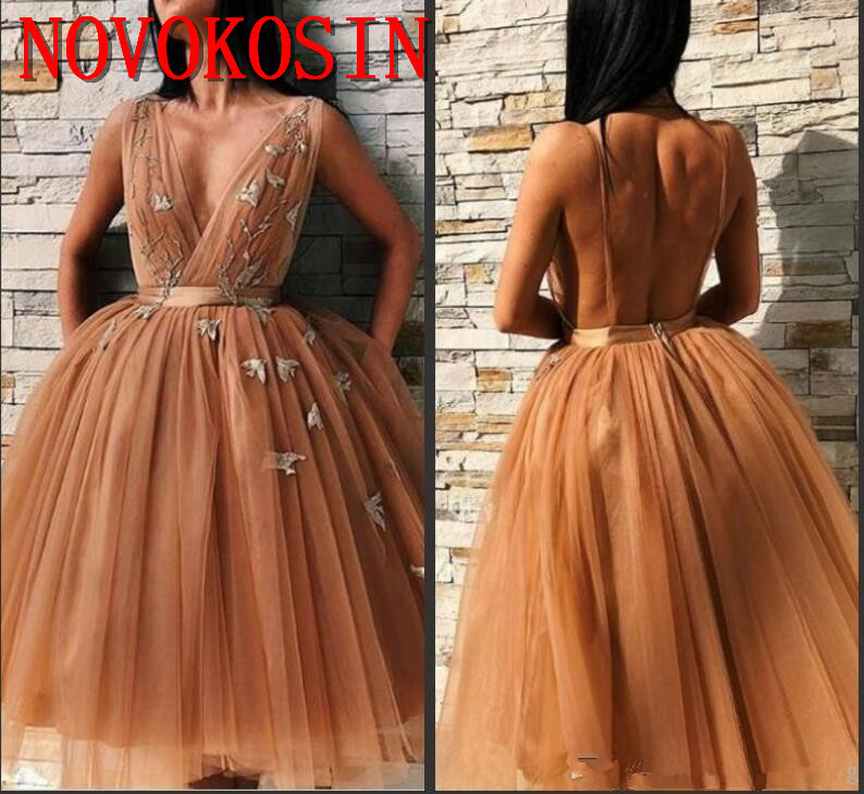 2019 New Sexy Homecoming Dresses With Sashes Deep V Neck Tulle Cocktail Party Gown Knee Length Appliques Backless Tiered Skirts