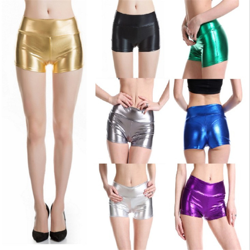 Women's Stretchy Leather Look High Waist Short  Pants Hot Shorts