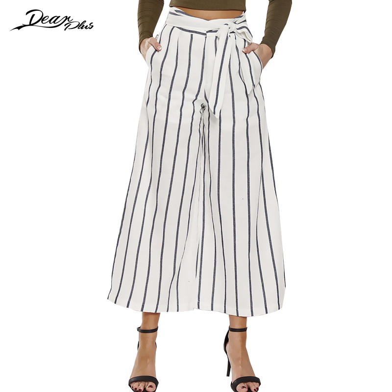 Women Fashion High Waist Stripe   Wide     Leg     Pants   Elegant Belted Casual Loose   Pants   Trousers Ankle Length   Pants
