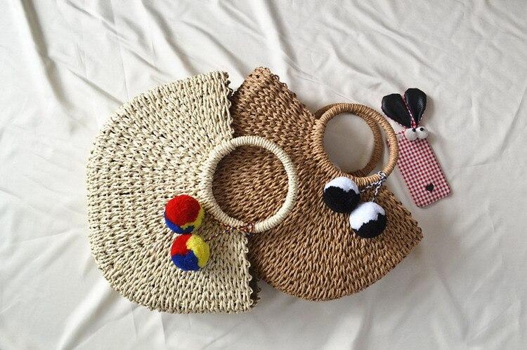a de playa mujer hechos bolsos pompón nuevos para verano mano 2018 XwSBqB