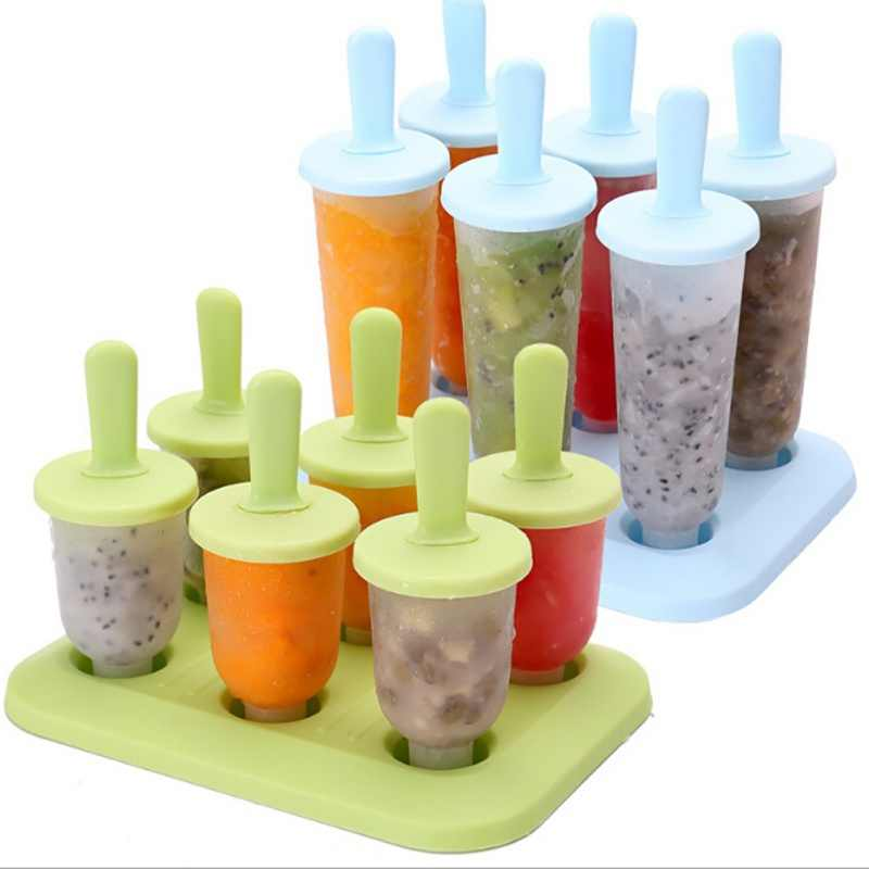 6 Pcs Es Krim Popsicle Cetakan Alat Memasak Persegi Panjang Berbentuk Reusable DIY Frozen Ice Cream Pop Baking Cetakan