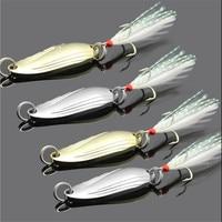 1 STKS Metalen 3.4 cm 3g/5g Gold Sliver Pailletten met Veer Fishing Lepel Lokken Harde Baits Bass Pike Visgerei fishing tackle hard baitpike fishing -