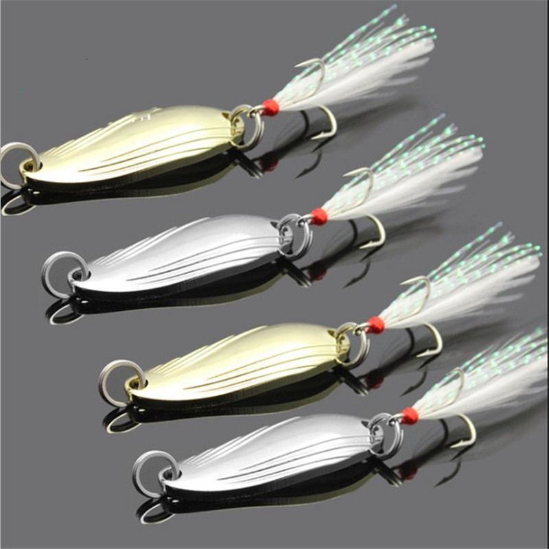 1PCS Metal 3.4 Cm 3g/5g Gold Sliver Sequins With Feather Fishing Lures Spoon Lure Hard Baits Bass Pike Fishing Tackle