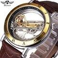 Топ Роскошный Золотой мост мужские часы Winner Механические Прозрачные наручные часы Montre Homme лучший подарок для друга