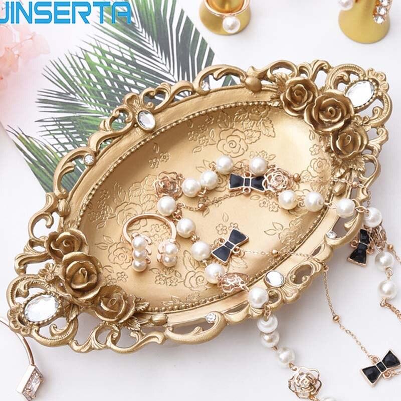 Bandeja dorada de almacenaje JINSERTA, bandeja de exhibición de joyería, collar, anillo, pendientes, bandeja de exhibición, organizador creativo de decoración de espejo