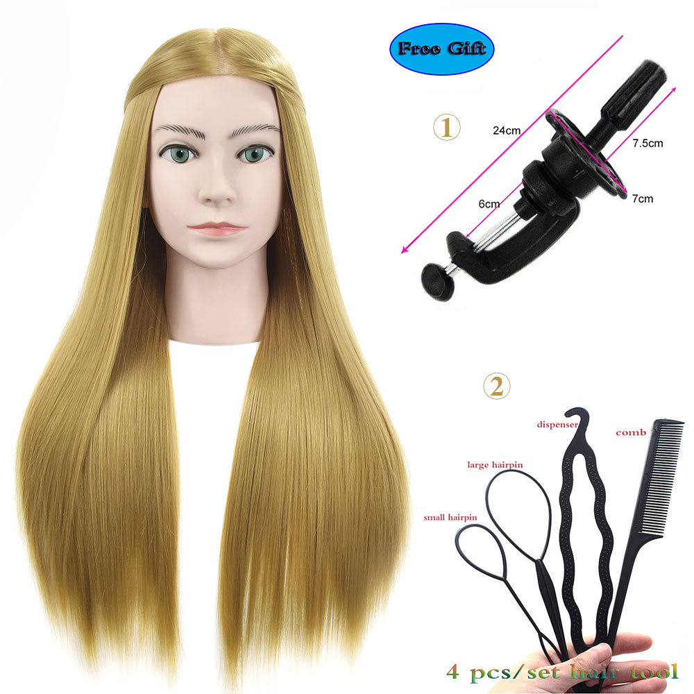 Bolihair Female Head Dolls For Hairdressers Synthetic Hair Mannequin Hairdressing Styling Training Head With Free Clamp