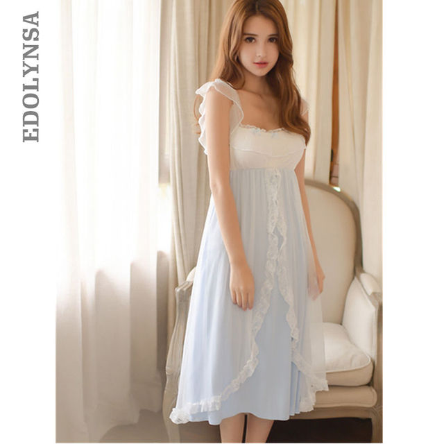 e77abc0eb25 Sleepwear Women Ruffle Frill Strap Wrap Ruffle Sleeveless Honeymoon Night  Dress Cute Princess Style Lingerie Lounge Wear T127