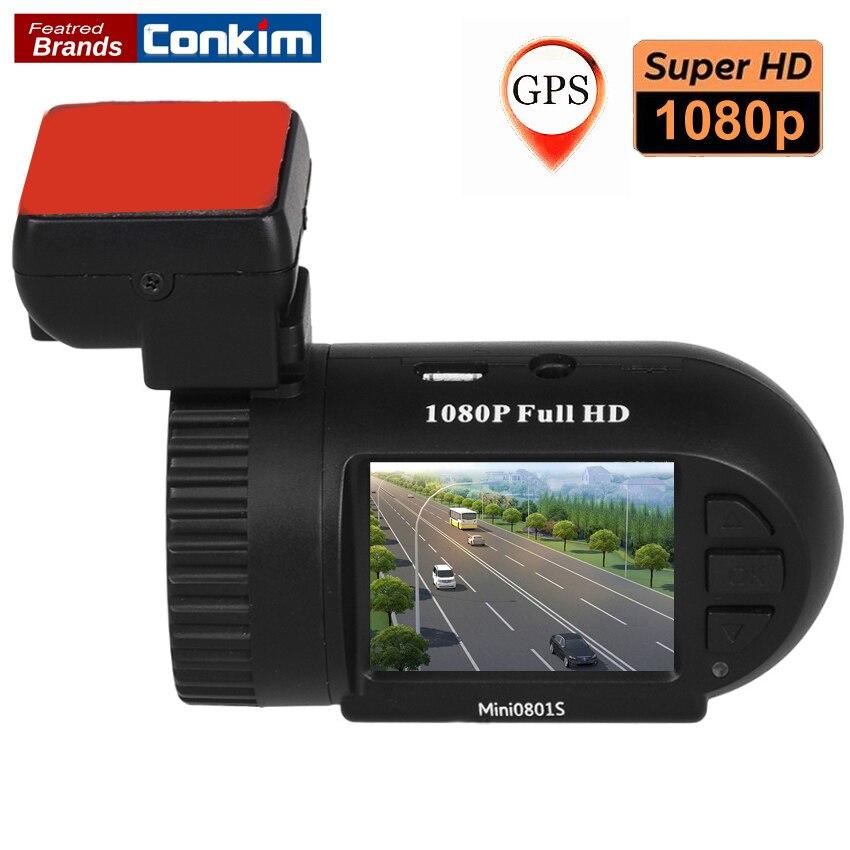 Conkim тире Камера 1080 P Full HD Видеорегистраторы для автомобилей Цифровой автомобиль Регистраторы супер конденсатор мини 0801 S с GPS + G -Сенсор + Ночное видение видеорегистраторы