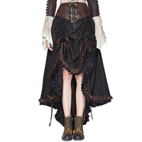 2018 New Arrival Gothic Skirt Women England Strip Asymmetrical Skirt Lace Up Empire Mid Calf Skirts Bandage Devil Fashion Skirt
