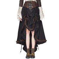 2018 New Arrival Gothic Skirt Women England Strip Asymmetrical Skirt Lace Up Empire Mid Calf Skirts Bandage Devil Fashion Skirt