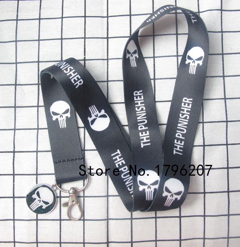 1PCS  Cartoon  Punisher Pendant  Neck Strap Lanyard Mobile Phone Charms Key Chain ID Badge Key Chains LT-3