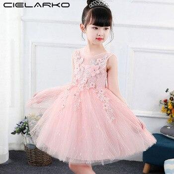 33c8e9b7cf85239 Cielarko/Элегантные Платье для девочек с цветочным узором Вечерние Нарядные  платья для свадьбы для маленьких