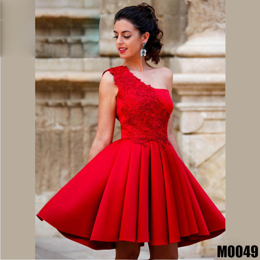 Popular One Shoulder Lace Applique Stain   Cocktail     Dresses   Short Prom   Dresses   Formal Gown Custom Made
