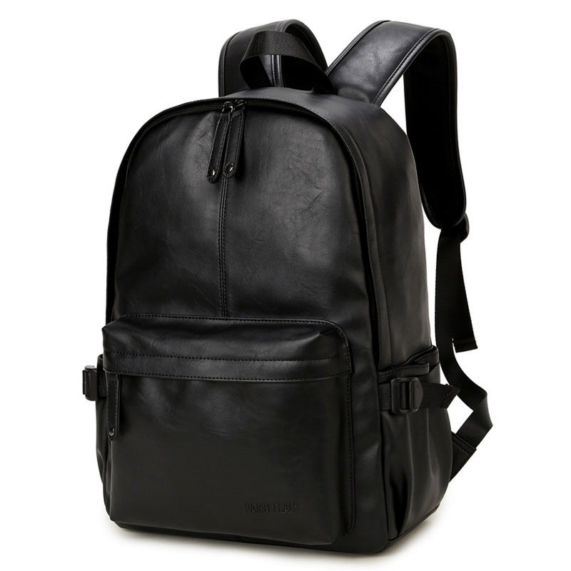 Casual Travel Backpack Solid Color Simple Fashion PU Leather School Bag Men And Women Designer Plain Backpack in Backpacks from Luggage Bags