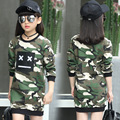 Hot Sale 2017 Spring Baby Girl Long T-shirt Camouflage Color Fashion Patches Hoodies Children Pullover Cotton Top Tees Clothes
