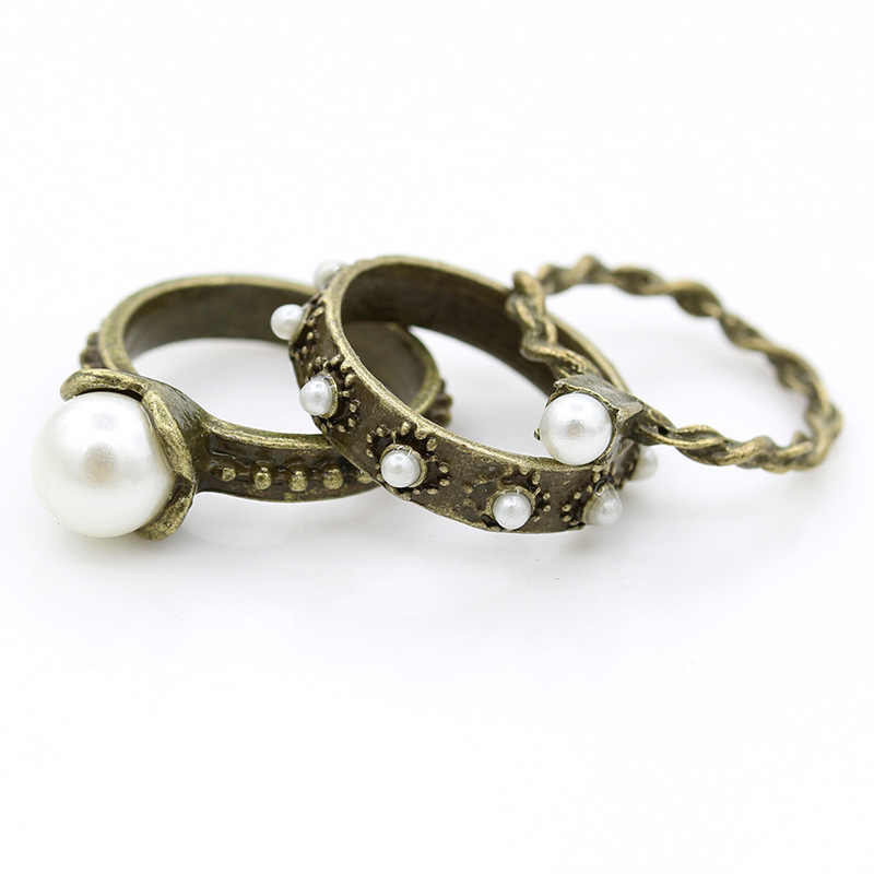 Antique Simulated Pearl Rings Bronze Silver Trendy Rings White Beads for Women 3 pcs/set