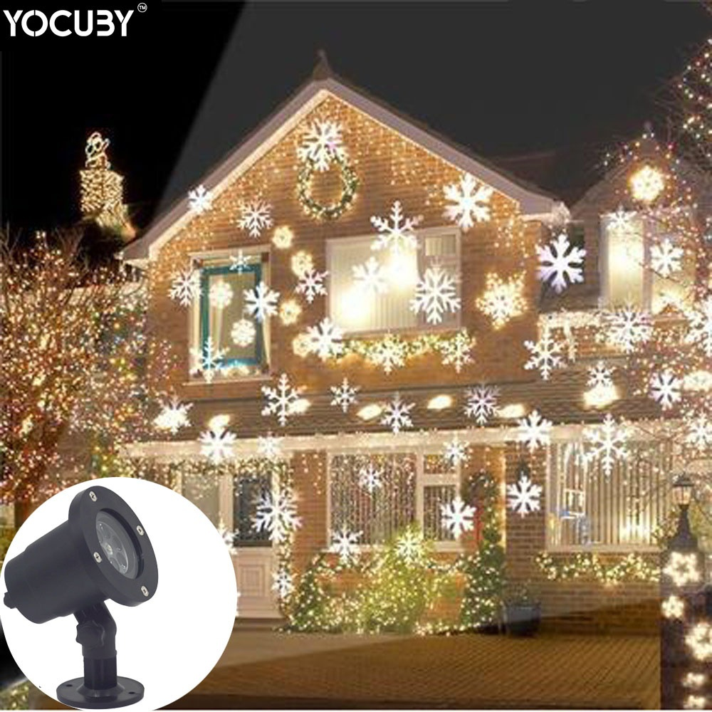 HENYNET LED Snowflakes Projector Light Waterproof Decoration lighting for Outdoor Decor Stage Irradiation Holiday Christmas