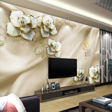 Custom wallpaper 3d solid wall painting boutique high-end embossed flowers TV background papers home decor