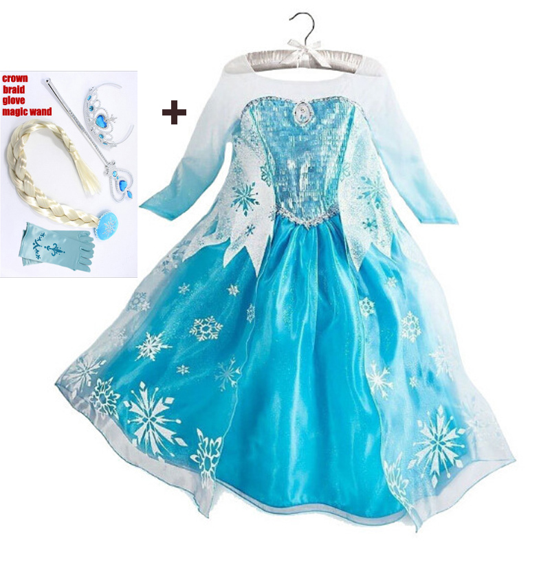 High quality clothes and clothes for girls kids Anna Princess children's clothing children Elsa COSPLAY summer baby girl dress sosocoer girls princess dress anna elsa dress children clothing new summer brand lace toddler girl dresses kids clothes outfits