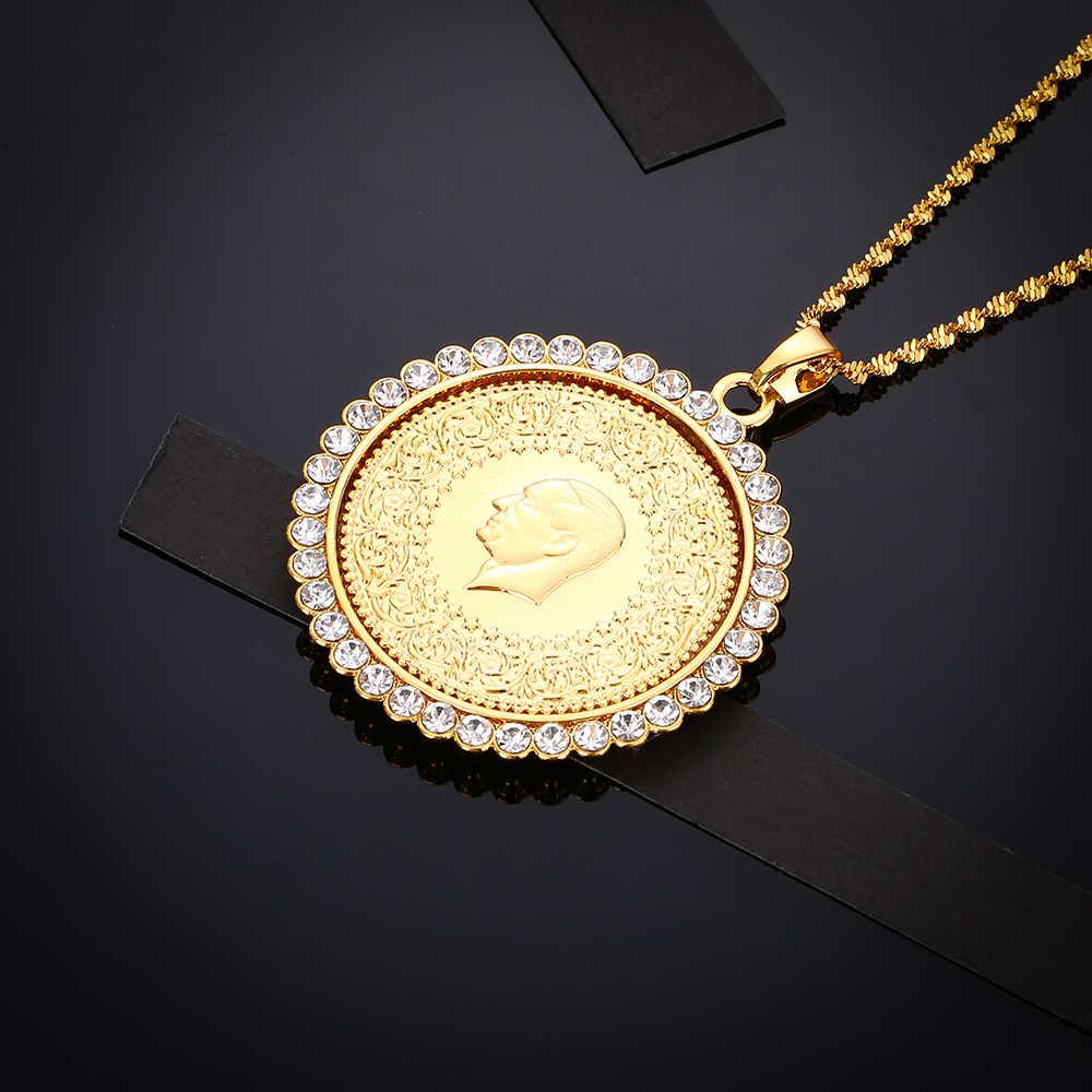 Никогда не выцветший большой размер Турция магнит для монет и ожерелья с AAA кристаллом для женщин золотой цвет турецкие ювелирные изделия из монет этнические подарки